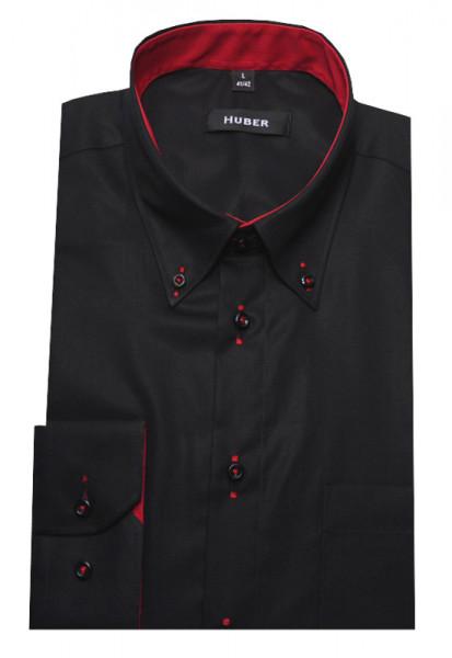 HUBER Designer Hemd schwarz-rot Regular Fit HU-0098