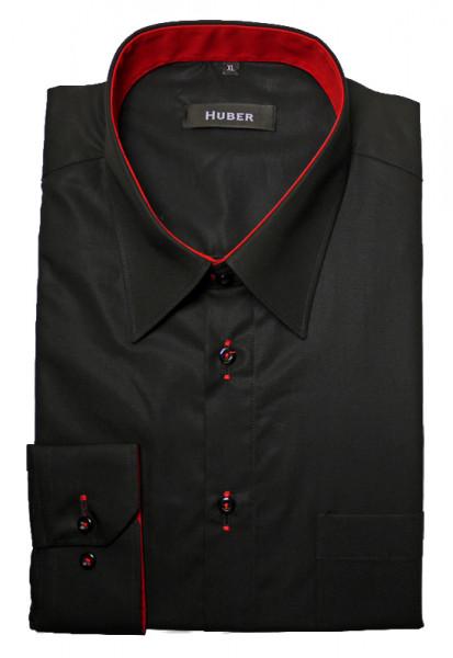 HUBER Designer Hemd schwarz-rot bügelleicht HU-0098 Regular
