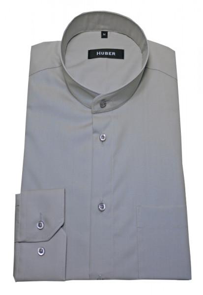 Stehkragenhemd von HUBER grau reine Baumwolle