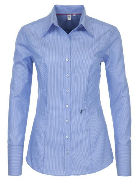 Seidensticker Damen Bluse blau-weiß gestreift bügelfrei SB-0046 Slim Line