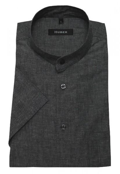 Stehkragen Leinen Hemd grau meliert Kurzarm von HUBER Halbleinen