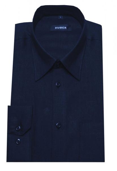 HUBER Leinen Hemd dunkel blau HU-0066 Regular