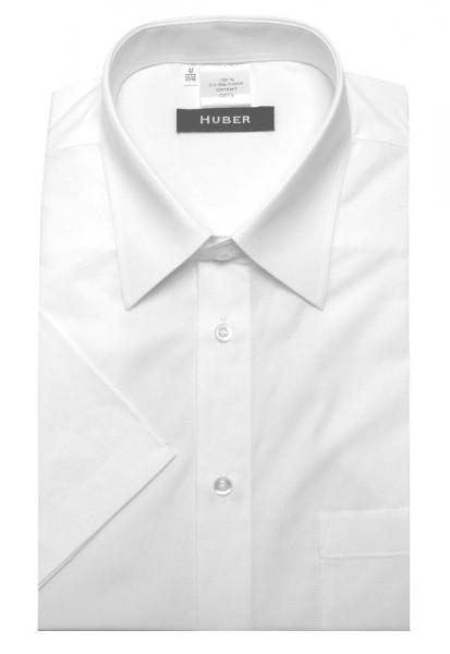 HUBER Hemd Kurzarm weiß nachhaltige Bio-Baumwolle HU-0150 Regular