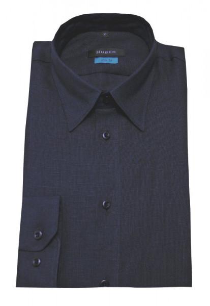 Leinen Hemd Slim Fit marine blau Kentkragen von HUBER