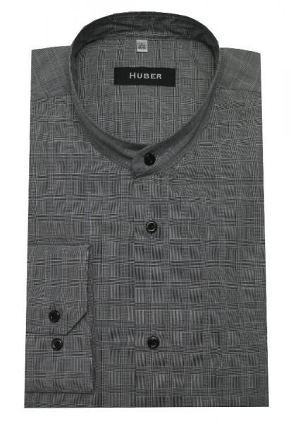 HUBER Stehkragen Hemd Glenn Check Karo grau HU-0165 Regular