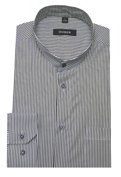 HUBER Stehkragen Hemd weiß grau gestreift HU-0028 Regular