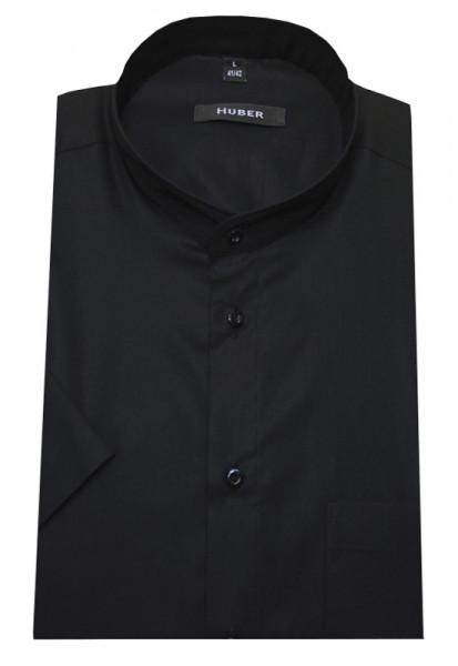 HUBER Stehkragen Hemd schwarz Kurzarm 100% Baumwolle bügelleicht HU-0126 Regular