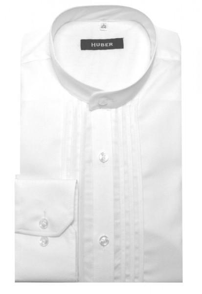 HUBER Stehkragen Hemd weiß mit Biesen HU-0004 Regular
