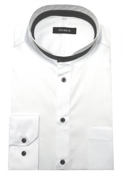 HUBER Stehkragen Hemd weiß Kontrast grau HU-0450 Regular