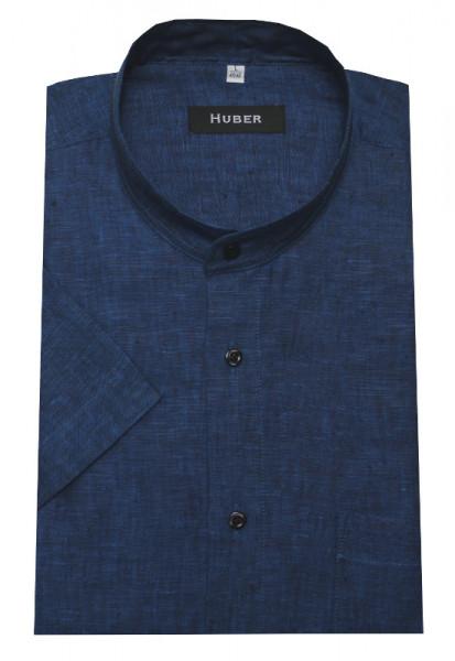 HUBER Stehkragen Leinen Hemd blau Kurzarm HU-0118 Regular Fit