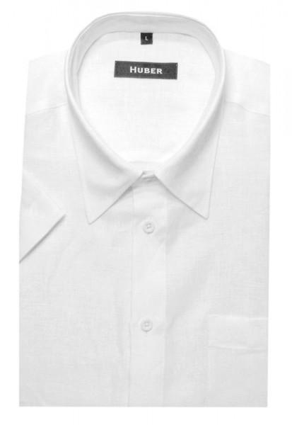 HUBER Kurzarm Hemd weiß 100% Leinen HU-0101 Regular