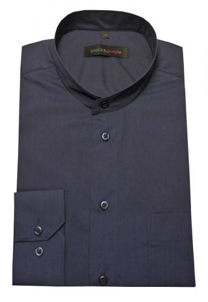 Stehkragen Hemd marine blau bügelleicht Black & Purple