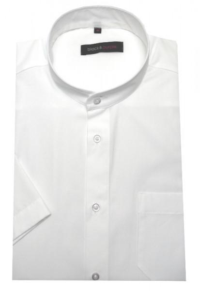 Stehkragen Hemd weiss Kurzarm bügelleicht BP-0060 Regular Fit