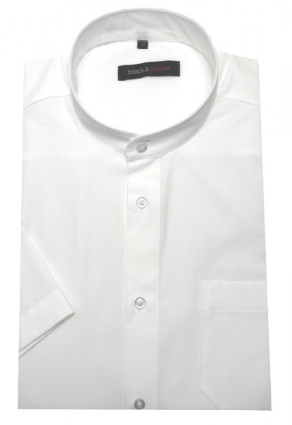 Stehkragen Herren Hemd weiss Kurzarm Regular Fit BP-0060