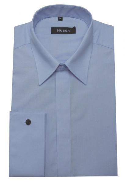 Umschlag-Manschetten Hemd blau von HUBER verdeckte Knopfleiste