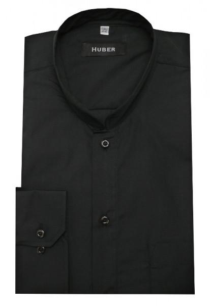 Stehkragen Hemd schwarz von HUBER Asia-Kragen normale Knopfleiste