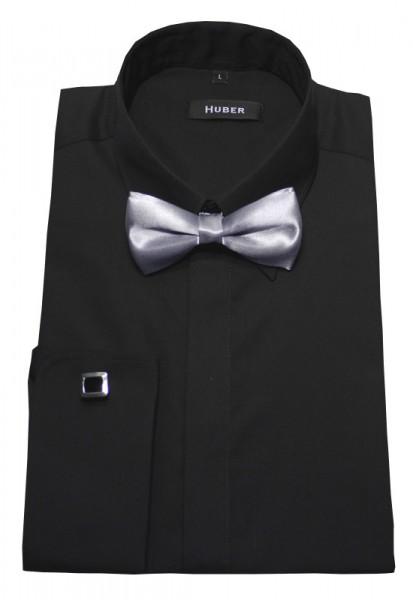 Umschlag-Manschetten Hemd schwarz von HUBER +Fliege +Manschettenknöpfe