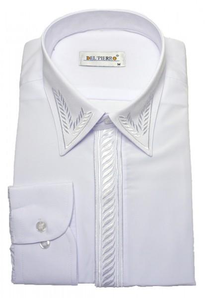 Classic-Hemd von Pierre Martin mit verdeckter Knopfleiste und Stickerei weiß Baumwollmischung
