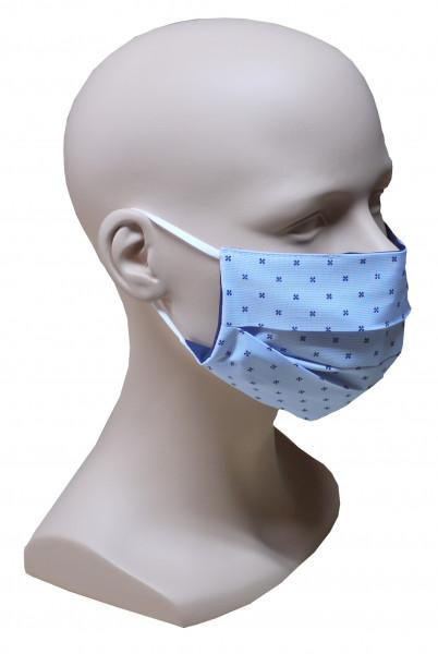 Gesicht Mund Nase Maske blau feiner Stoff 2-lagig waschbar HU-7028