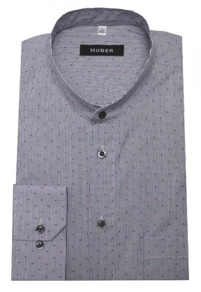 HUBER Stehkragen Hemd weiß dunkelblau gestreift HU-0087