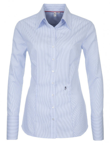 Seidensticker Damen Bluse weiß-blau gestreift bügelfrei SB-0045 Slim Line
