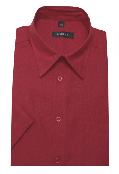 HUBER Leinen Hemd rot Kurzarm HU-0105 Regular