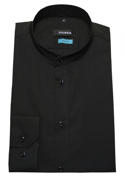 HUBER Stehkragen Hemd schwarz HU-0382 Slim Fit