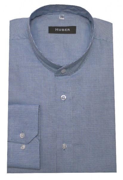 HUBER Stehkragen Hemd blau HU-0166 Regular