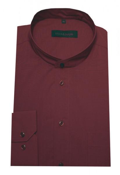 Stehkragen Hemd weinrot bügelleicht Black & Purple