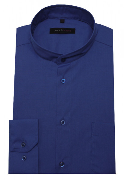Stehkragen Hemd royal-blau bügelleicht BP-0038 Regular Fit
