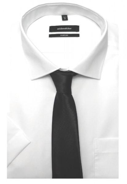 Seidensticker Kurzarm Hemd weiß+Krawatte bügelfrei SC-2101 Comfort Fit
