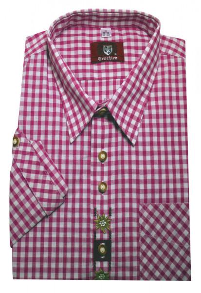 Orbis Trachtenhemd pink-weiß mit Stickerei Krempelarm OS-0105 Regular Fit