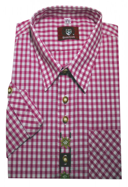 Orbis Trachtenhemd pink-weiß +Stick Krempelarm OS-0105 Regular Fit