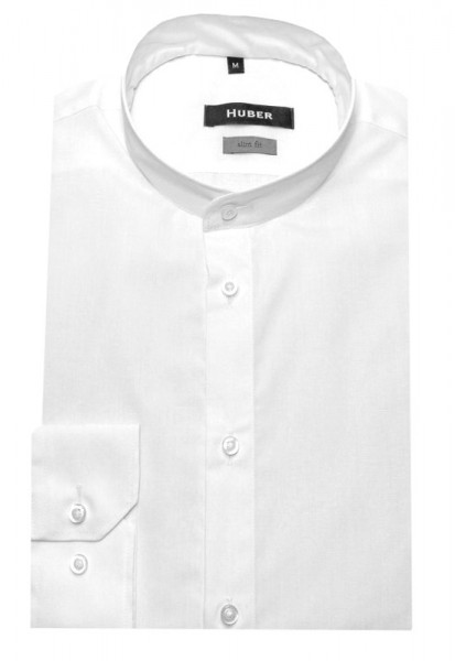 HUBER Stehkragen Hemd weiß HU-0381 Slim Fit
