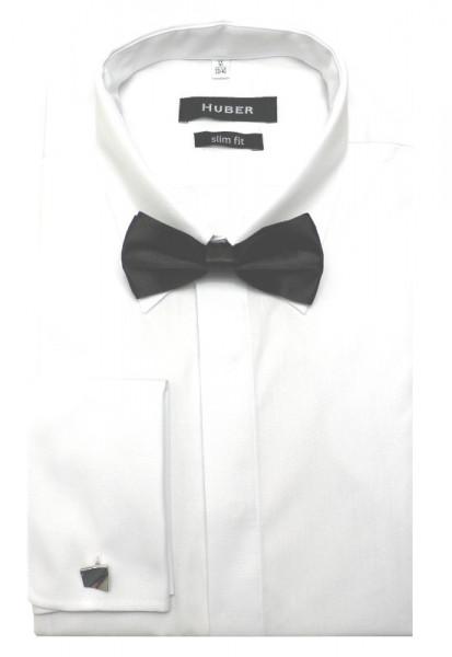 HUBER Umschlagmanschetten Hemd weiß inkl. Fliege schwarz HU-1361 Slim Fit