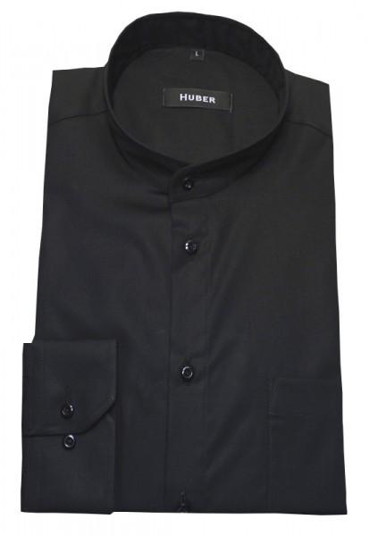 Stehkragen Hemd schwarz Baumwolle bügelleicht von HUBER