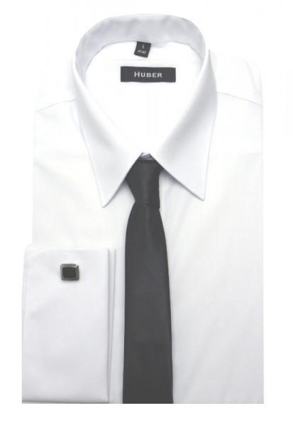 HUBER Umschlag-Manschetten Hemd weiß inkl.Krawatte HU-5011 Regular