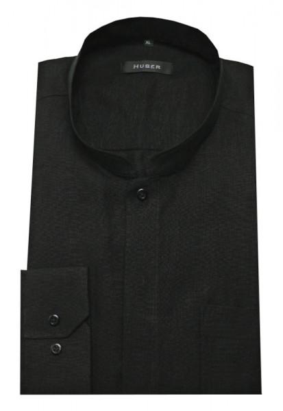 HUBER Stehkragen Hemd Leinen schwarz Asia Kragen HU-0572 Regular