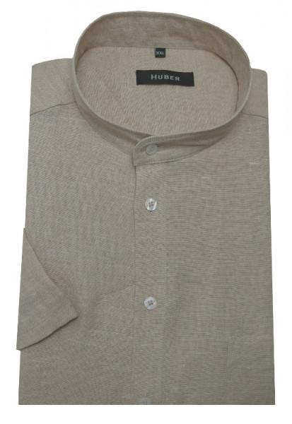 HUBER Stehkragen Leinen Hemd beige Kurzarm HU-0116