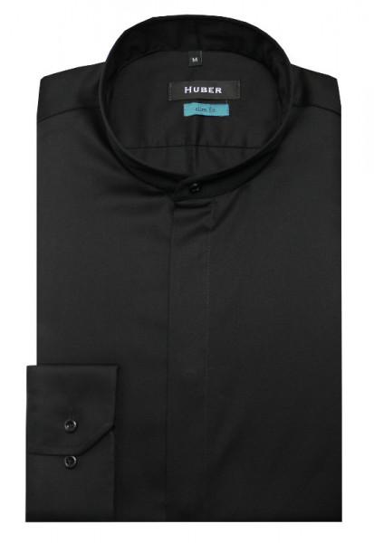 HUBER Stehkragen Hemd schwarz verdeckte Knopfleiste HU-0329 Slim Fit