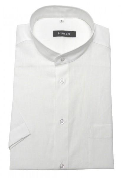HUBER Stehkragen Kurzarm Leinen Hemd weiß HU-0130 Regular