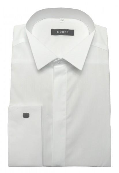 Smoking Hemd weiß von HUBER verdeckte Knopfleiste