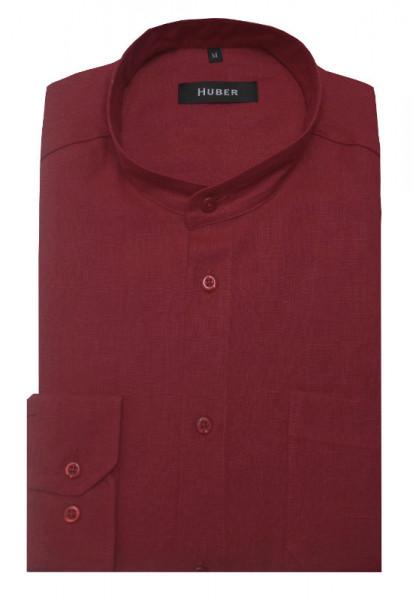 HUBER Stehkragen Leinen Hemd rot weinrot HU-0049 Regular