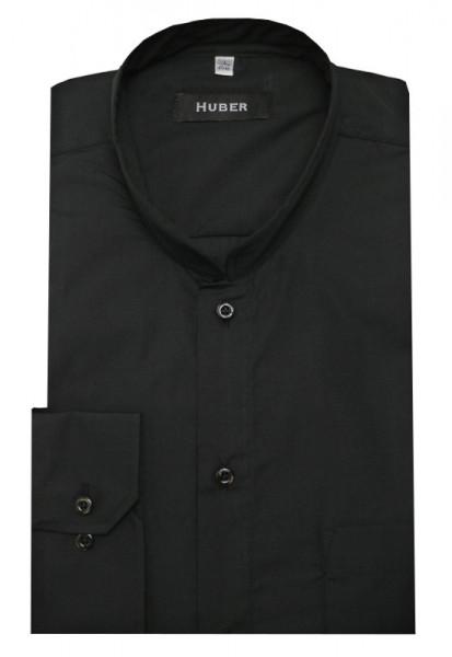 HUBER Asia Mao Stehkragen Hemd schwarz HU-90036 Regular