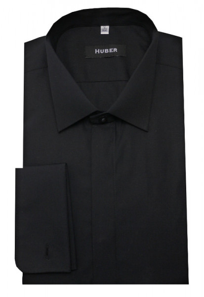 HUBER Smoking Hemd schwarz HU-0352 Slim Fit