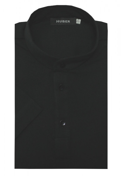 HUBER Stehkragen Poloshirt Kurzarm schwarz 100% Baumwolle HU-0202 Regular/Comfort Fit