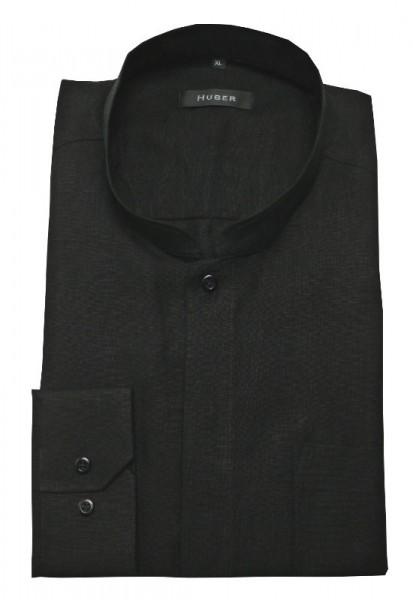 HUBER Stehkragen Hemd Leinen schwarz Asia Japan Kragen HU-0572 Regular Fit