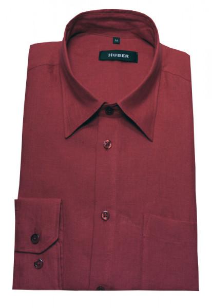 HUBER Leinen Hemd rot weinrot HU-0065 Regular