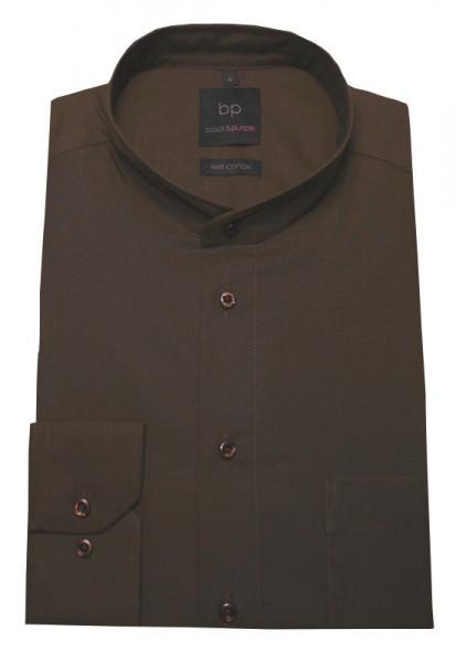 Stehkragen Hemd braun bügelleicht BP-0001 Regular Fit