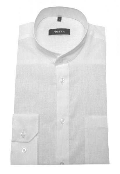 Stehkragen Leinen Hemd weiß von HUBER Leinenmischung